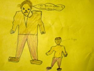 Ein Kind verarbeitet seine Erlebnisse in Zeichnungen Foto: Eberhard Gohl