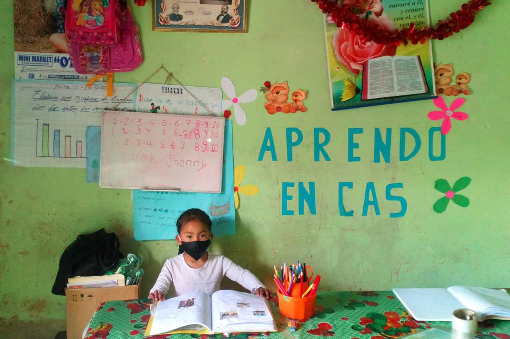 Ein Mädchen mit Nase-Mundschutz sitzt zu Hause mit einem aufgeschlagenen Schulbuch. Wegen der Schulschließungen nimmt sie am Fernunterricht teil.