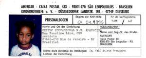 Joannas Kindernothilfe-Patenschaftsbogen von 1995